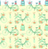 Seamless pattern with cute girly bike. Romantic bouquets of flowers in basket and love mail letters in mailbox. Cute. Background love valentines day or wedding stock illustration