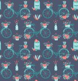 Seamless pattern with cute girly bike. Romantic bouquets of flowers in basket and love mail letters in mailbox. Cute. Background love valentines day or wedding royalty free illustration