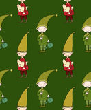 Seamless pattern with cute gnome and bird. Vector illustration for children design. Stock Photos