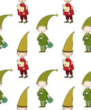 Seamless pattern with cute gnome and bird. Vector illustration for children design. Royalty Free Stock Image