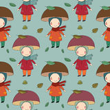 Seamless pattern with cute gnome, cat and bird. Vector illustration for children design. Royalty Free Stock Photos