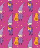 Seamless pattern with cute gnome, cat and bird. Vector illustration for children design. Royalty Free Stock Photo