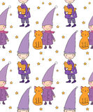Seamless pattern with cute gnome, cat and bird. Vector illustration for children design. Royalty Free Stock Image
