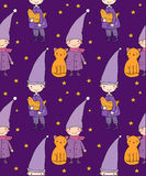 Seamless pattern with cute gnome, cat and bird. Vector illustration for children design. Stock Images