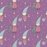 Seamless pattern with cute gnome and cat . Vector illustration Royalty Free Stock Image