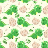 Seamless pattern with cute green dinosaur and eggs - vector illustration, eps vector illustration
