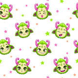 Seamless pattern with cute green monster faces Stock Image