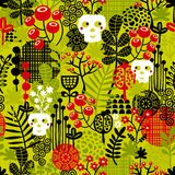 Seamless pattern with cute halloween and flowers. Stock Image