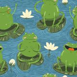 Seamless pattern with cute hand-draw frogs and watterlilly Stock Images