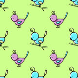 Seamless pattern with cute hand drawn birds Stock Image