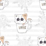 Seamless pattern with cute hand drawn kitten in a cup with love letters. Romantic floral background. Vector illustration Stock Image