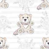 Seamless pattern with cute hand drawn teddy bear. Romantic floral background. Vector illustration Royalty Free Stock Photo