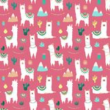 Seamless pattern of cute hand-drawn white llamas or alpacas, cacti, mountains, sun, garlands on a pink background. Illustration fo. R children, room, textile vector illustration