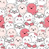 Seamless pattern cute happy baby octopus vector illustration