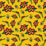Seamless pattern with cute and happy bees and ladybirds Stock Photography