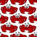 Seamless pattern of a cute happy red crab. Seamless background pattern of a cute happy red crab with big pincers or claws in square format Royalty Free Stock Image