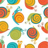 Seamless pattern with cute happy snails Stock Photo
