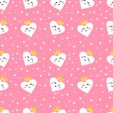 Seamless pattern with cute hearts princess. Ornament for children`s textiles and wrapping. Flat style. Vector. vector illustration