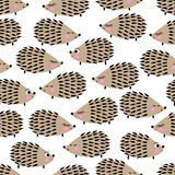 Seamless pattern with cute hedgehogs. Childish vector background with cartoon characters. Stock Photo