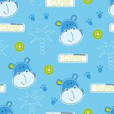 Cute hippo and palms seamless pattern. Seamless pattern with cute hippo heads, palms, buttons and text Royalty Free Stock Photo