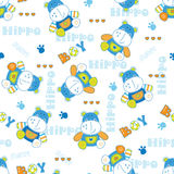 Seamless pattern with cute hippo Royalty Free Stock Photo
