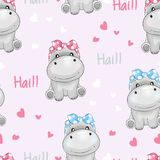 Seamless pattern cute hippo with love background vector illustration