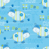 Seamless pattern with cute hippo Royalty Free Stock Image