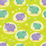 Seamless pattern with cute hippos Stock Photos