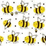 Seamless pattern with honey bees. Seamless pattern with cute honey bees royalty free illustration