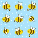 Seamless pattern with honey bees. Seamless pattern with cute honey bees vector illustration
