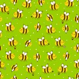 Seamless pattern with honey bees. Seamless pattern with cute honey bees stock illustration
