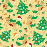 Seamless pattern cute horse for Christmas. Greetings and for the new year Royalty Free Stock Image