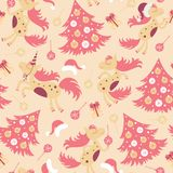 Seamless pattern cute horse for Christmas. And for the new year Royalty Free Stock Image