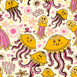 Seamless pattern with cute jellyfishes Royalty Free Stock Photography