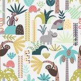 Seamless pattern with cute jungle animals Stock Photo