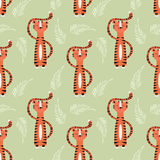 Seamless pattern with cute jungle orange tiger Royalty Free Stock Image