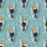 Seamless pattern with cute jungle parrot toucan on blue  Stock Image