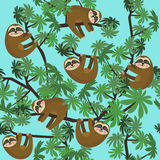Seamless pattern with cute jungle sloths on blue background, vector illustration. Stock Photography