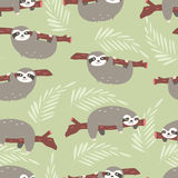 Seamless pattern with cute jungle sloths on green background Royalty Free Stock Photography