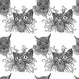 Seamless pattern with cute kats. Cat background in mandala style. Black and white vector illustration. Royalty Free Stock Images