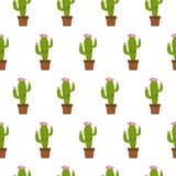 Seamless pattern with cute kawaii cactus with funny faces. isolated on white background. Vector illustration vector illustration