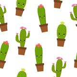 Seamless pattern with cute kawaii cactus and succulents with funny faces in pots. White background. Vector illustration vector illustration