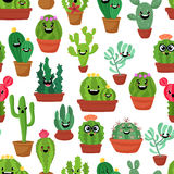Seamless pattern with cute kawaii cactus and succulents with funny faces in pots.White background. Vector illustration Stock Images