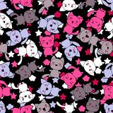 Seamless pattern with cute kawaii doodle cats.  vector illustration
