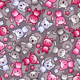 Seamless pattern with cute kawaii doodle cats.  stock illustration