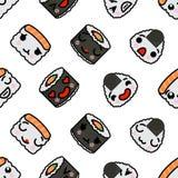 Seamless pattern with cute kawaii emoji sushi vector cartoon illustration. Seamless pattern with cute kawaii emoji sushi. vector cartoon illustration stock illustration