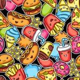 Seamless pattern with cute kawaii fast food meal.
