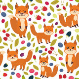 Seamless pattern cute kawaii  fox, Cherry Strawberry Raspberry Blackberry Blueberry Cranberry Cowberry Goji Grape  isolated on whi. Te background. Vector Royalty Free Stock Photos