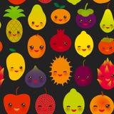 Seamless pattern cute kawaii fruit Pear Mangosteen tangerine pineapple papaya persimmon pomegranate lime apricot plum dragon fruit. Figs mango peach lemon Stock Photos