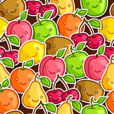 Seamless pattern with cute kawaii smiling fruits Stock Photos